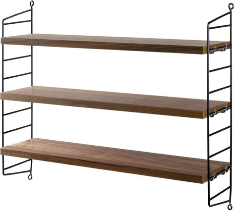Walnut/Black String Pocket Shelves