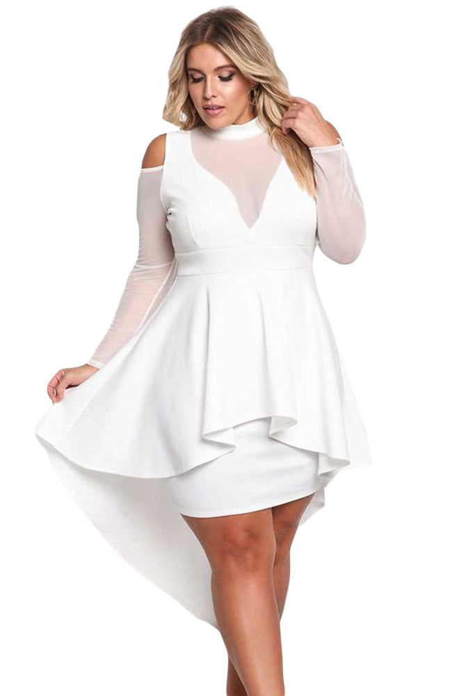 Sexy Long Sleeve Cold Shoulder Club Party Plus Size Dress Verkadi