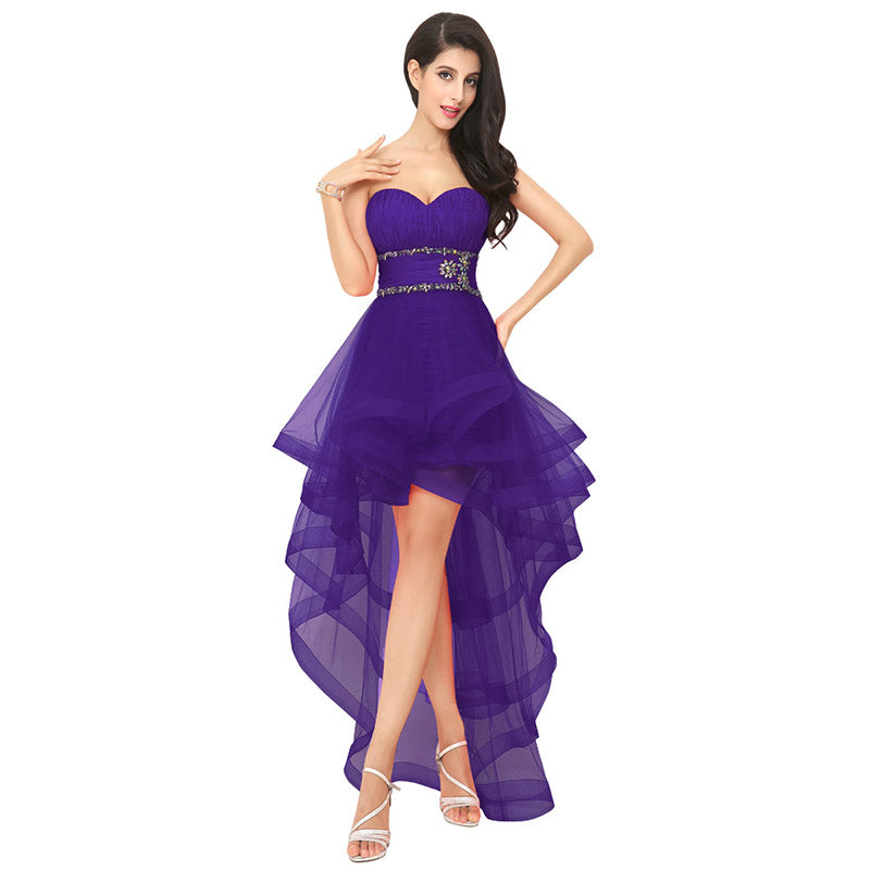 Asymmetrical Short Little Ruffles Prom Graduation Party Dress ...