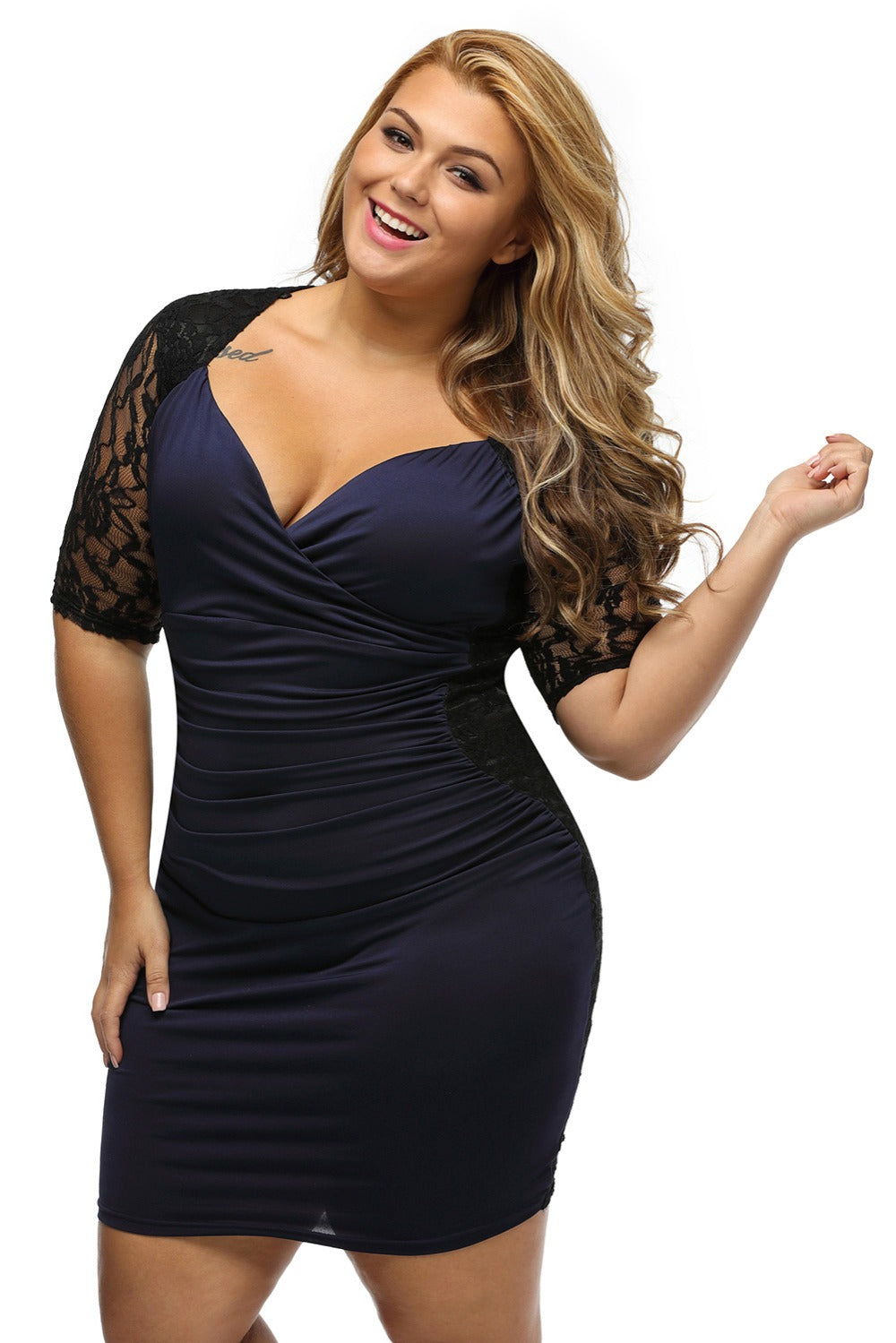 Sexy Ruched Lace Illusion Bodycon Party Plus Size Dress Verkadi