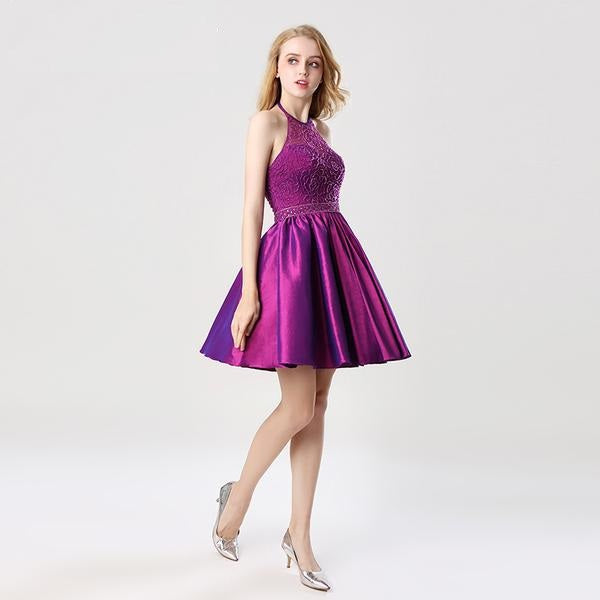 Short Halter Sleeveless Taffeta Beading Prom Dress – Verkadi.com