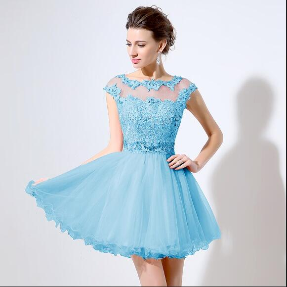 Lace Beaded Short Homecoming Party Prom Dress – Verkadi.com