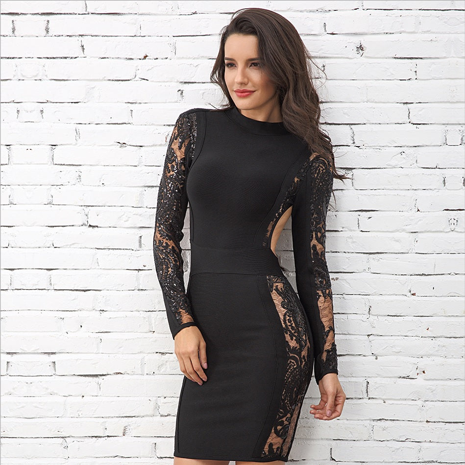 Elegant Long Sleeve Black Lace Backless Mini Party Dress – Verkadi.com