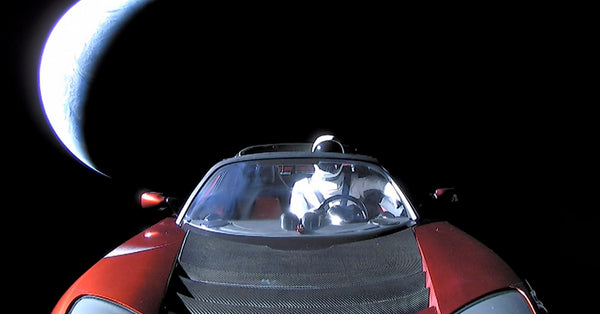 Starman in SpaceX's Cherry Red Tesla Roadster