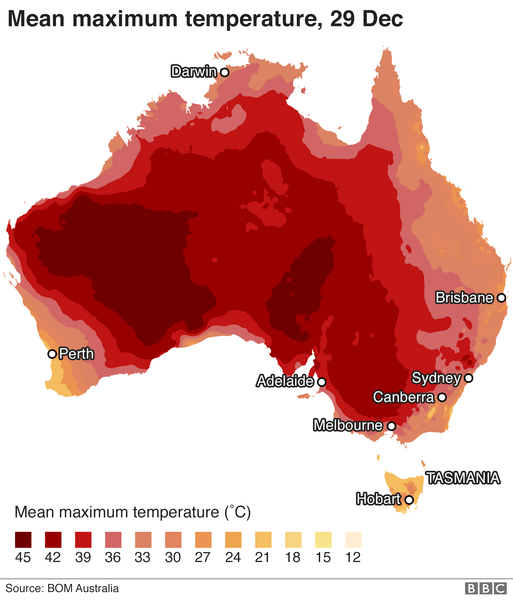 Australia broke its mean maximum temperature record twice in December 2019