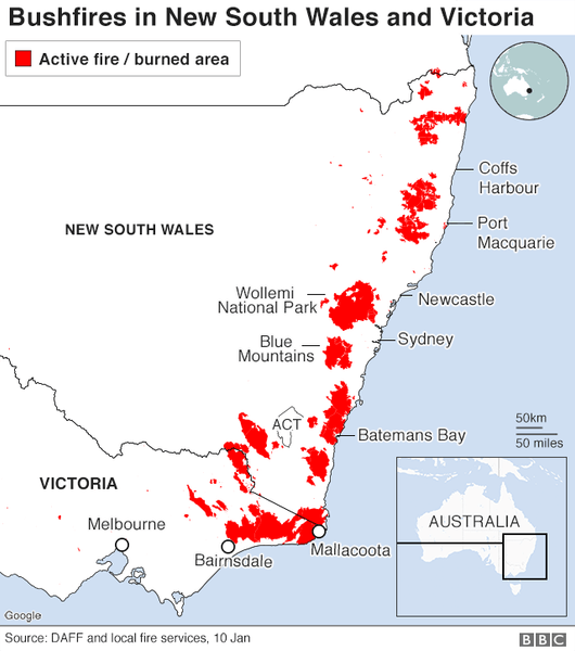 The active fire and burned areas of Australia's bushfires