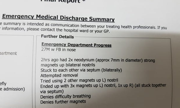 Daniel Reardons Medical certificate after removal of the magnets in his nose.