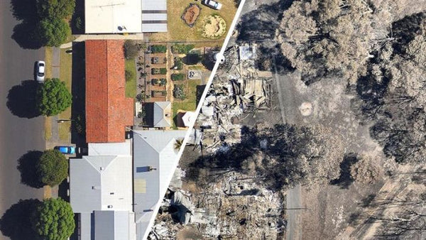 Yarloop, Australia bushfire before and after.