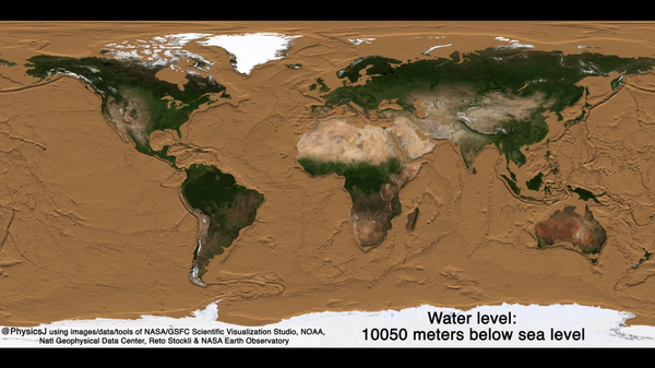 Earth with the sea level dropped almost 11,000 metres