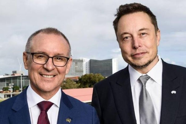 Former South Australian premier Jay Weatherill and Tesla boss Elon Musk (Facebook)