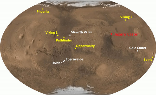 Mars 2020 Rover predicted landng site