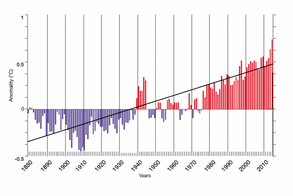The trend of ocean warming since the late 1800s