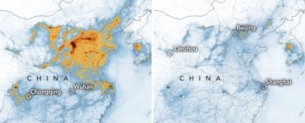 Average pollutant levels over China amidst the coronavirus pandemic