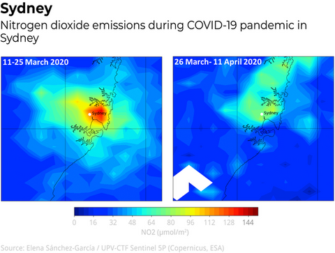 Nitrogen dioxide pollution during COVID-19 pandemic in Sydney and surrounds.