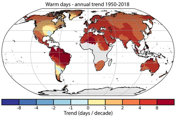 total warm days from HadEXX data from 1905 to 2018
