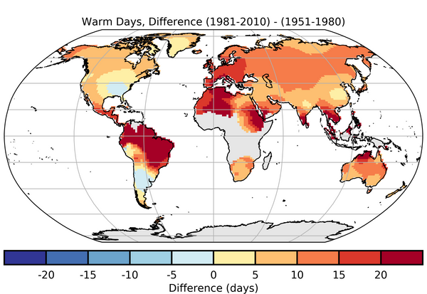 HadEX dataset on total difference in warm days
