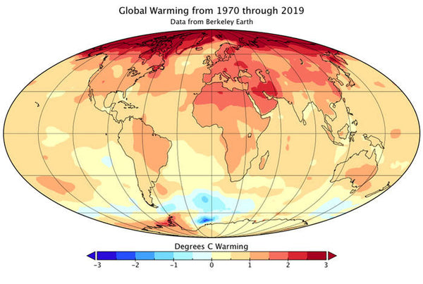 A climate map showing the rise in global temperatures
