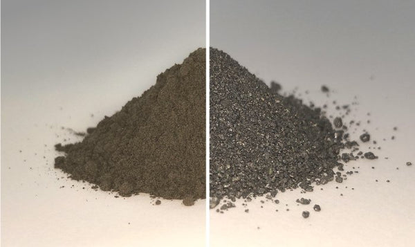 Moon dust before (left) and after (right) the oxygen extraction. (Beth Lomax/University of Glasgow)