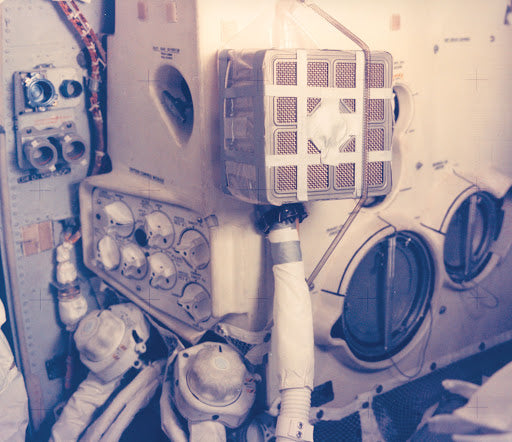 The Apollo 13 crew used makeshift tools to stop the CO2 problem in under an hour.