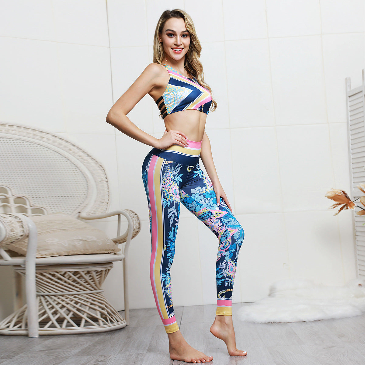 Textured Stretchy Flower Print Tummy Control Gym Set Yoga Sets - Arhametics