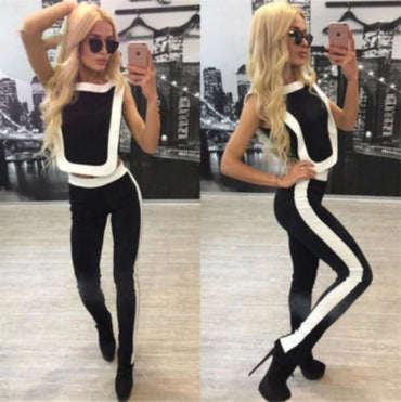 Black and White Fitness Tracksuit Yoga Sets - Arhametics