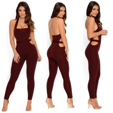 Backless Hanging Neck Push Up Fitness Jumpsuit One Pieces - Arhametics