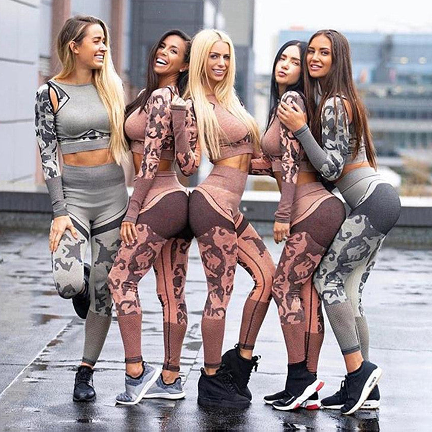 Seamless Camo Long sleeve Fitness Set Yoga Sets - Arhametics