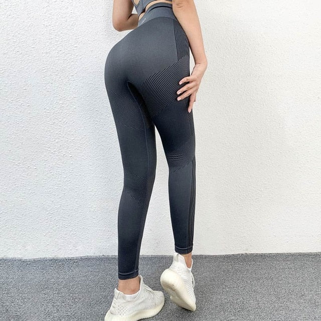 Energy Seamless Striped Yoga Pants Leggings - Arhametics