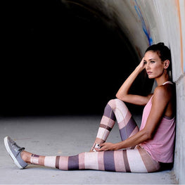 Colorful Stripe Print Splicing Slim Milk Silk Leggings Leggings - Arhametics