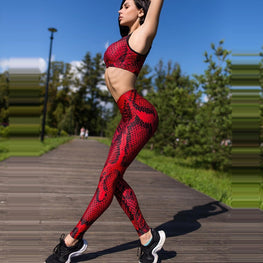 Red Snake Print Yoga Tights Leggings - Arhametics