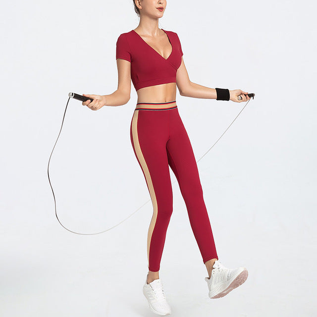 Seamless Short sleeve Sports Suits Yoga Sets - Arhametics