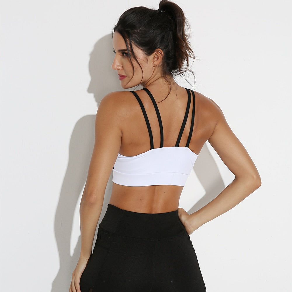 Mesh  Double Thin Shoulder Strap Sports Bra