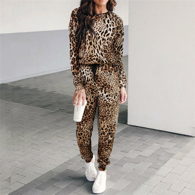 Leopard Print Elastic Waist Jogging Suits Yoga Sets - Arhametics