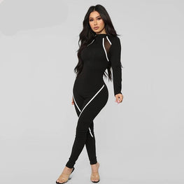 Long Sleeve Mesh Patchwork Fitness Jumpsuit One Pieces - Arhametics