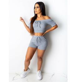 Off Shoulder Stretchy Tracksuit shorts - Arhametics