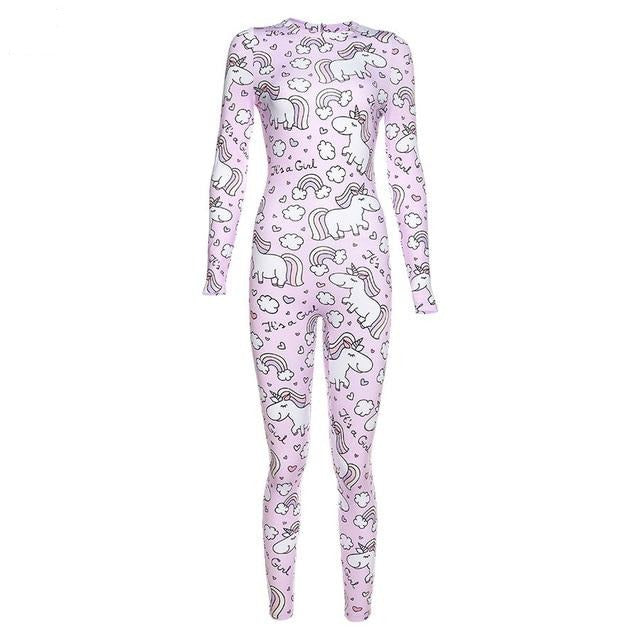 Rainbow unicorn Print fitness jumpsuit One Pieces - Arhametics