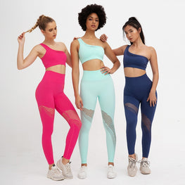 Knit Mesh Seam Peach Fitness Suit Yoga Sets - Arhametics