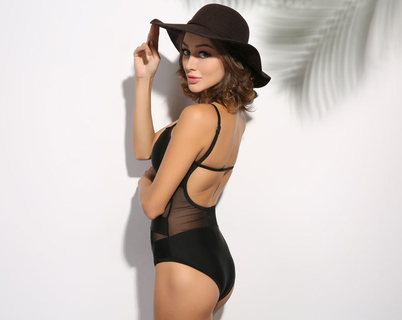 Black Sheer Strappy One Piece Swimsuit Swimsuit - Arhametics