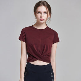 Yoga Short Sleeve O-neck Crop Top Tees - Arhametics