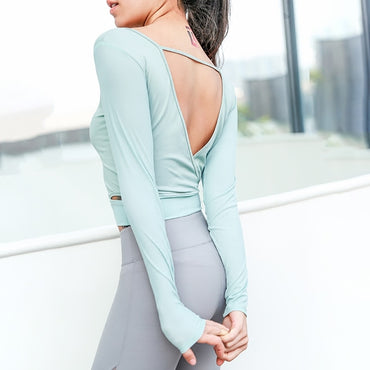 Long Sleeve Solid Mesh-paneled Ballet Yoga Top Tees - Arhametics