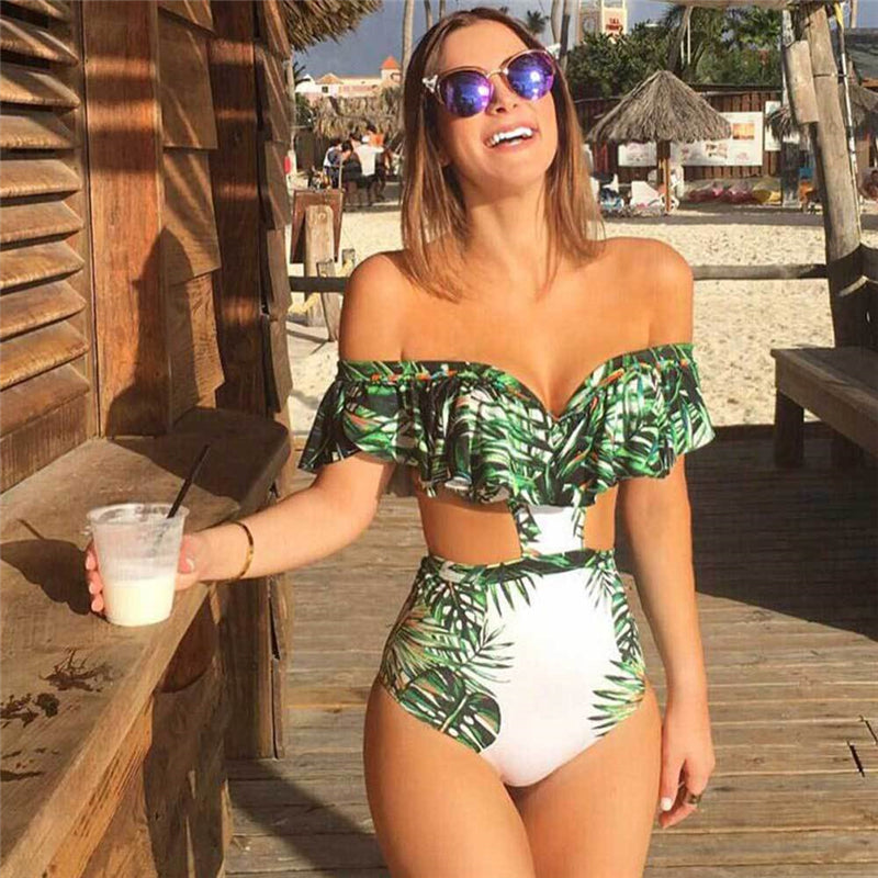 Off Shoulder Printing Swimwear Swimsuit - Arhametics