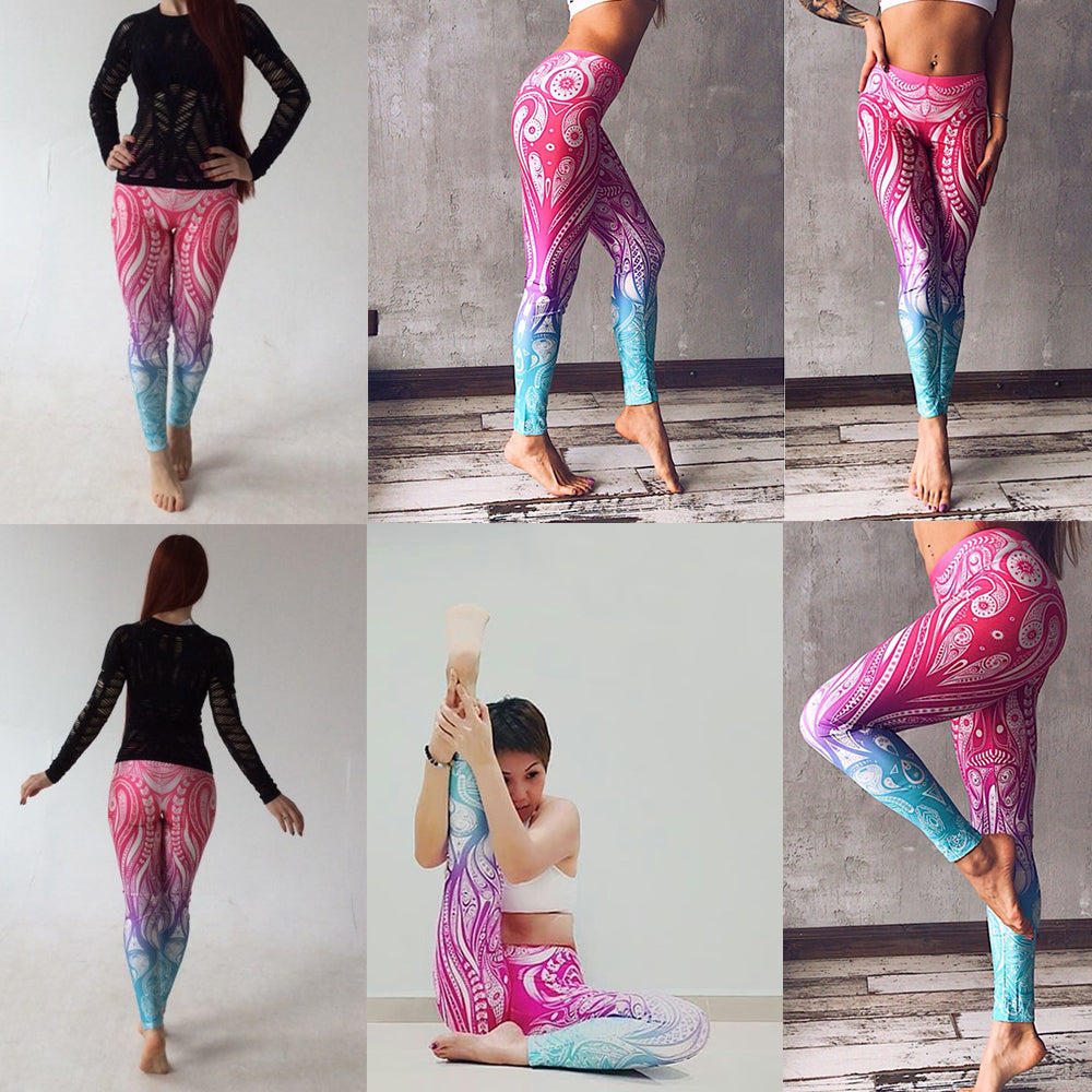 Mandala Flower Digital Print Fitness Legging Leggings - Arhametics