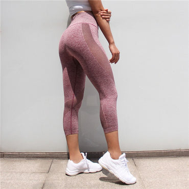 Seamless Gym Tights Push Up Mesh Legging High Waist Yoga Pants Capris - Arhametics