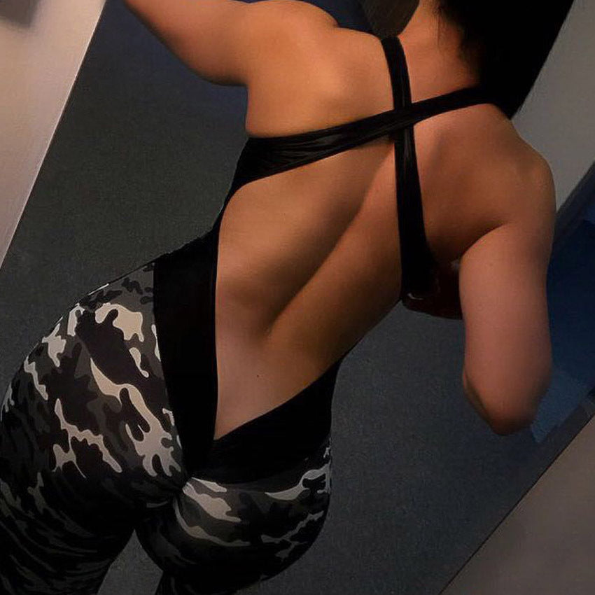 Camouflage Cross Backless Yoga Set One Pieces - Arhametics
