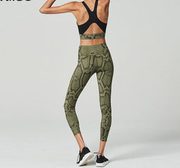 Snake Skin Print Active Wear Yoga Sets - Arhametics