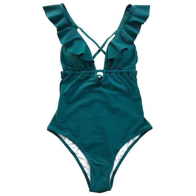 Ruffle V-neck One-piece Swimsuit Swimsuit - Arhametics