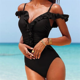 Ruffled Tied Bow Cutout Swimsuit