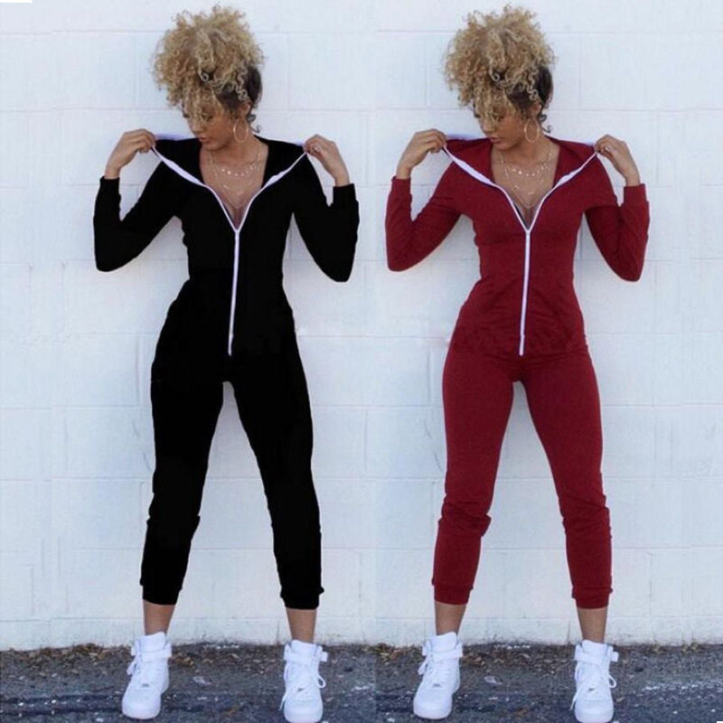 Long Sleeve Solid Hoodies Fitness Jumpsuits One Pieces - Arhametics