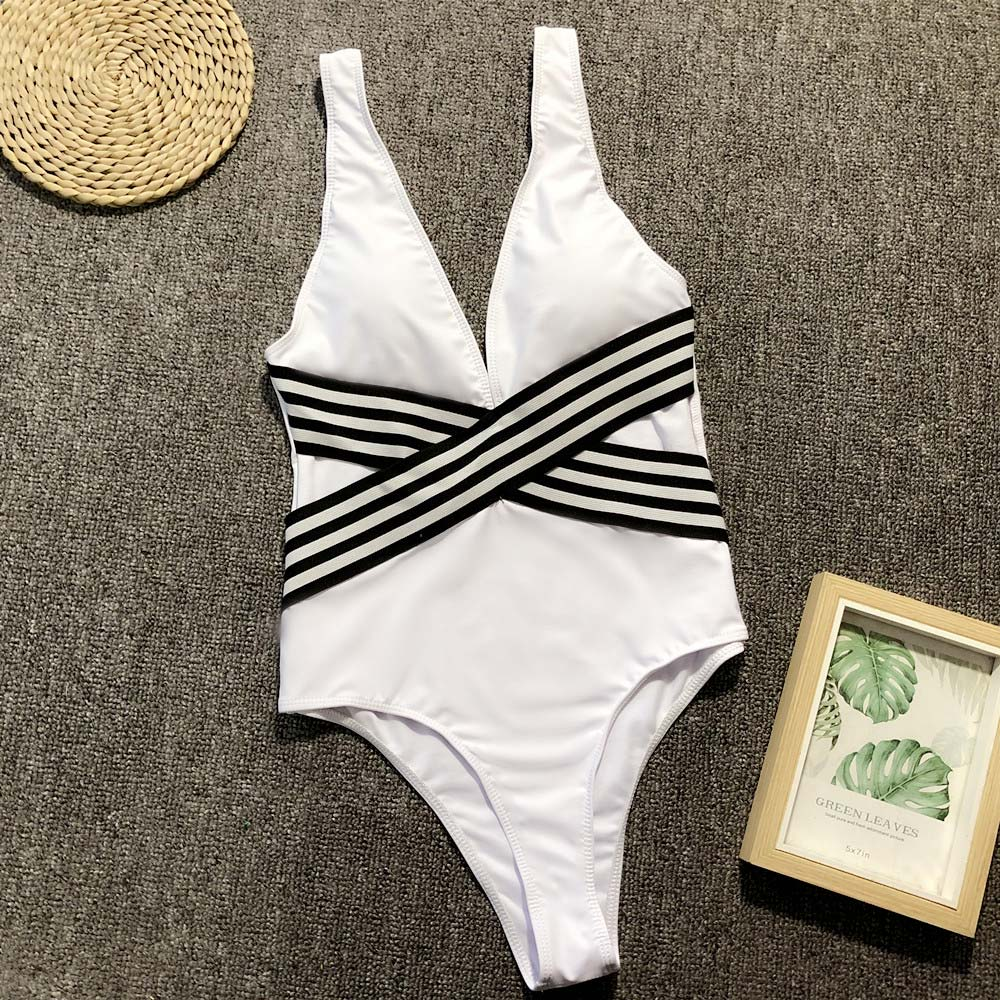 Cross Striped Beach Wear Swimsuit Swimsuit - Arhametics