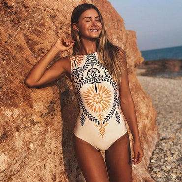 Leaf Print Monokini High Cut SwimSuit Swimsuit - Arhametics